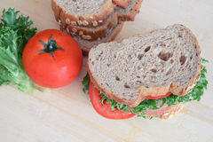 Ham sandwich and whole wheat bread Royalty Free Stock Image