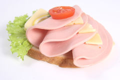 Ham Sandwich With Cheese, Ripe Potato And Lettuce Royalty Free Stock Images