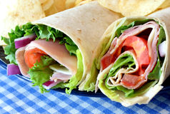 Ham Sandwich Wraps Stock Photo