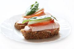 Ham sandwiches Stock Photo