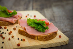 Ham Sandwiches Royalty Free Stock Photography