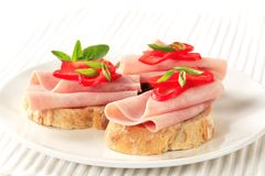 Ham sandwiches Stock Images