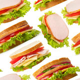 Ham sandwiches seamless wallpaper Royalty Free Stock Images