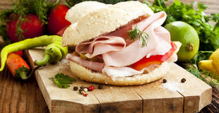 Ham Sandwiches with Vegetables Royalty Free Stock Photo