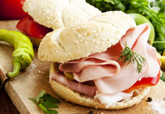 Ham Sandwiches with Vegetables Royalty Free Stock Photography