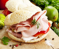 Ham Sandwiches with Vegetables Royalty Free Stock Photos