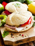 Ham Sandwiches with Vegetables Royalty Free Stock Images