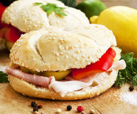Ham Sandwiches with Vegetables Royalty Free Stock Image
