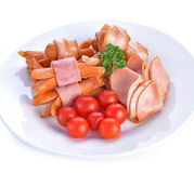 Ham sausage  in dish  white background Royalty Free Stock Image