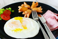 Ham sausage and egg Stock Images