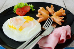 Ham sausage and egg. For breakfast stock photo