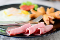 Ham sausage and egg Royalty Free Stock Images
