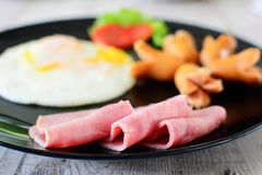 Ham sausage and egg Royalty Free Stock Image