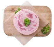 Ham Sausage (isolado no branco) fotografia de stock