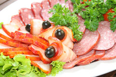 Ham, sausage and lettuce stock photos