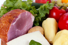 Ham with sausage and mixed fruits and vegetables Stock Image