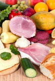 Ham with sausage and mixed fruits and vegetables Royalty Free Stock Photo