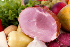 Ham with sausage and mixed fruits and vegetables Stock Photos