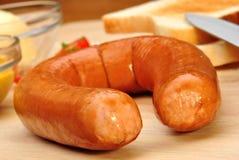 Ham sausage with toast Stock Photo
