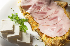 Ham and Scrambled Eggs Stock Photo