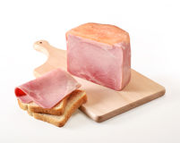Ham sliced on cutting board Royalty Free Stock Photography