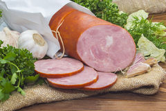 Ham  sliced pork sausage with garlic and herb Royalty Free Stock Photos