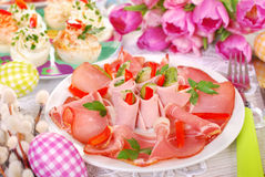 Ham slices on the plate for easter Royalty Free Stock Photo