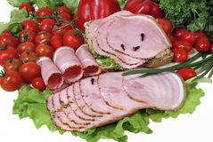 Ham slices with red and green Stock Photos