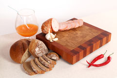 Ham sliceson a chopping board Royalty Free Stock Image