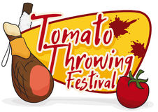Ham, Soaped Stick and Tomato for Tomatina Festival, Vector Illustration. Poster with traditional elements of Tomatina -Tomato Throwing Festival-: delicious ham Royalty Free Stock Photos
