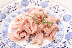 Ham. Some fresh ham on a plate Royalty Free Stock Image