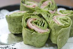 Ham and spinach wraps Stock Images