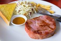 Ham Steak With Bread Royalty Free Stock Photos