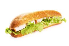 Ham sub sandwich. Submarine ham sandwich on white background Royalty Free Stock Photo