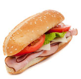 A ham sub sandwich on white Stock Images