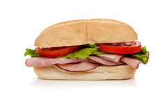 A ham sub sandwich on white Royalty Free Stock Photos