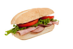 A ham sub sandwich on white Stock Photography