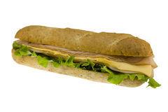 Ham sub on white Stock Photo