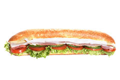 Ham submarin sandwich. Hum submarine sandwich isolated on white background Royalty Free Stock Photo