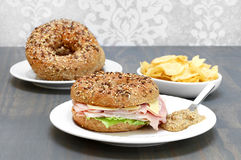 Ham, Swiss cheese and lettuce sandwich on a multi grain and seed Royalty Free Stock Photography
