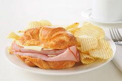Ham and Swiss Croissant Stock Images