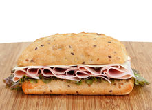 Ham, Swiss and Lettuce on a Whole Grain Roll Royalty Free Stock Image