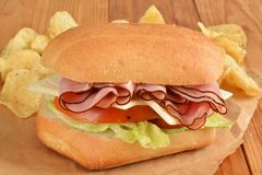Ham and swiss sandwich Stock Images