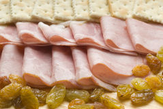 Ham table. With cookies and raisins Royalty Free Stock Photos