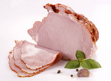 Ham. Tasty ham with basil and pepper royalty free stock photography