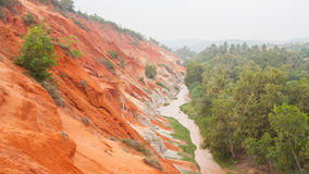 Ham Tien canyon in Vietnam, covert in fog Royalty Free Stock Photo