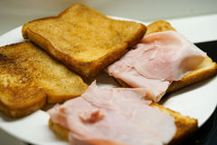 Ham on toast Stock Photo