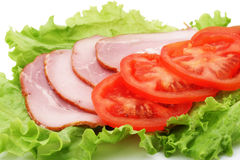 Ham, tomaat en sla Stock Fotografie