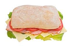 Ham, tomaten en kaasciabatta Stock Afbeelding