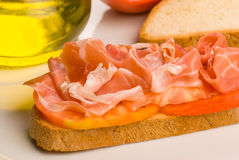 Ham with tomato Stock Photo